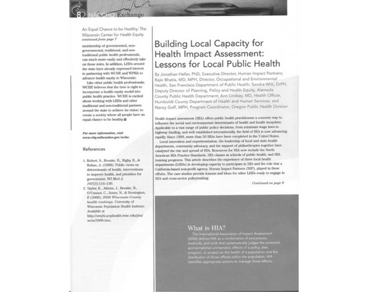 Building Local Capacity for HIA: Lessons for Local Public Health