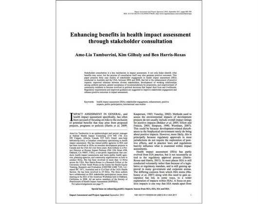 Enhancing Benefits in Health Impact Assessment through Stakeholder Consultation