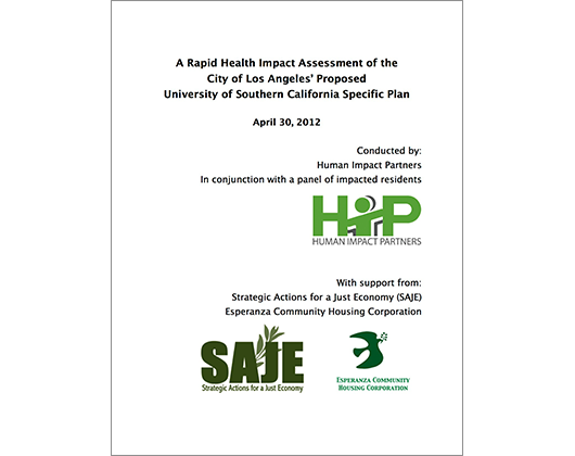 A Rapid HIA of the City of Los Angeles' Proposed University of Southern California Specific Plan