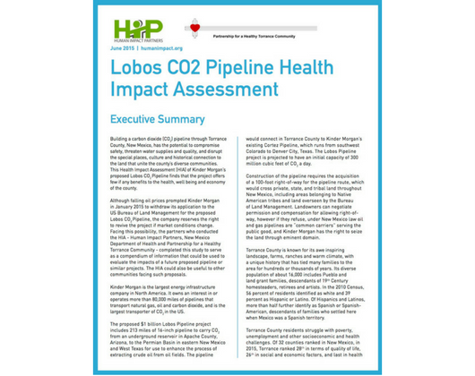 Lobos CO2 Pipeline Health Impact Assessment (Case Story)