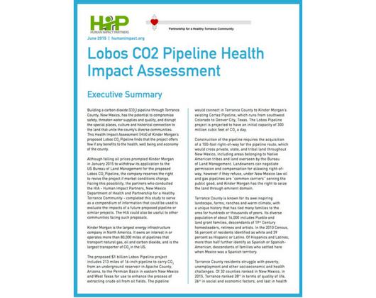 Lobos CO2 Pipeline Health Impact Assessment (Case Story)
