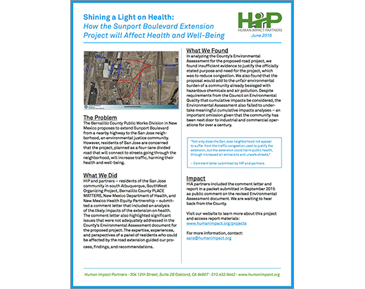 Shining a Light on Health: How the Sunport Boulevard Extension Project will Affect Health and Well-Being