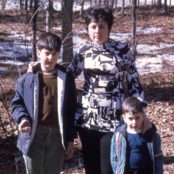 Family photo of Jonathan Heller, his mom, and his brother