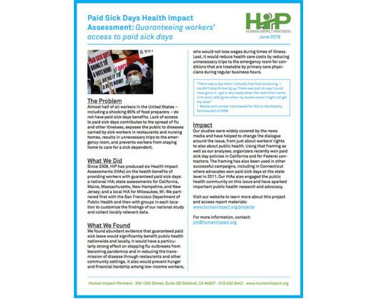 Paid Sick Days HIAs (Case Story)