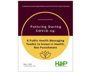 Cover page of the policing during COVID-19 public health messaging toolkit.
