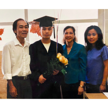 Tien Pham with his family at his high school graduation