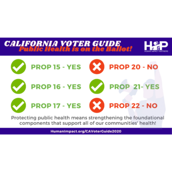 HIP CA Voter Guide: Prop 15-Yes, Prop 16-Yes, Prop 17-Yes, Prop 20-No, Prop 21-Yes, Prop 22-No