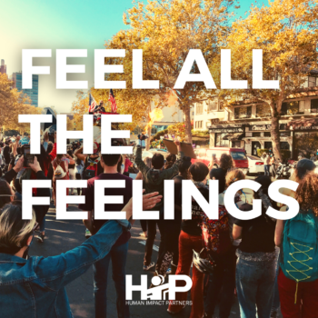 "Background photo of a crowd of people in the streets in Oakland celebrating the 2020 election results. Sun is out, people have their hands lifted in the air. Foreground text reads ""FEEL ALL THE FEELINGS"""