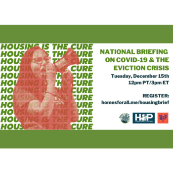 "Decorative Image: background is repeating text that reads ""Housing is the Cure,"" in the foreground a young person holding a megaphone is pictured"