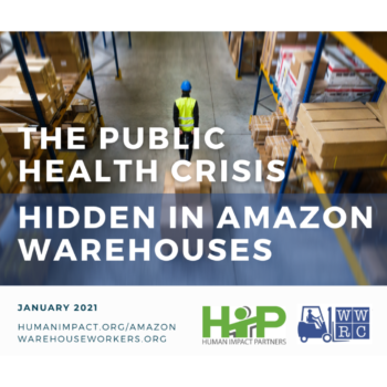 "Cover page design: Background photo of a lone warehouse worker pulling a cart of boxes down a warehouse aisle, with title text overlaid, ""The public health crisis hidden in Amazon warehouses"""