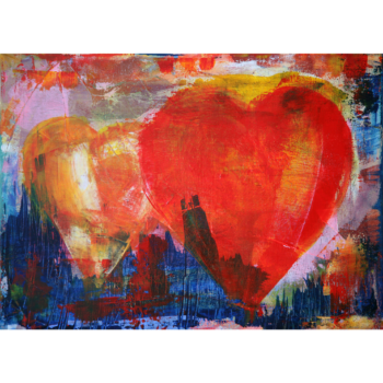 Painting of a red heart and an orange heart overlapping, with an abstract blue background