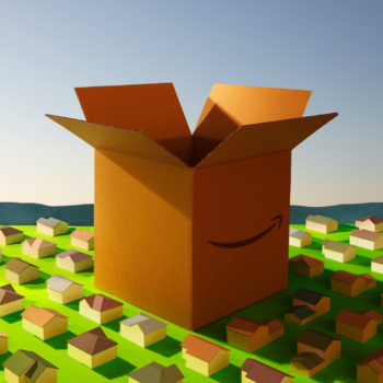 Illustration of a giant cardboard Amazon box towering over a town
