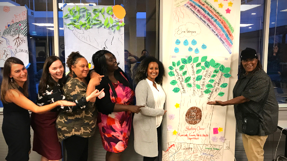 Image of 6 PPH 2018-2019 cohort participants smiling and pointing toward a large poster with sticky notes forming an idea tree